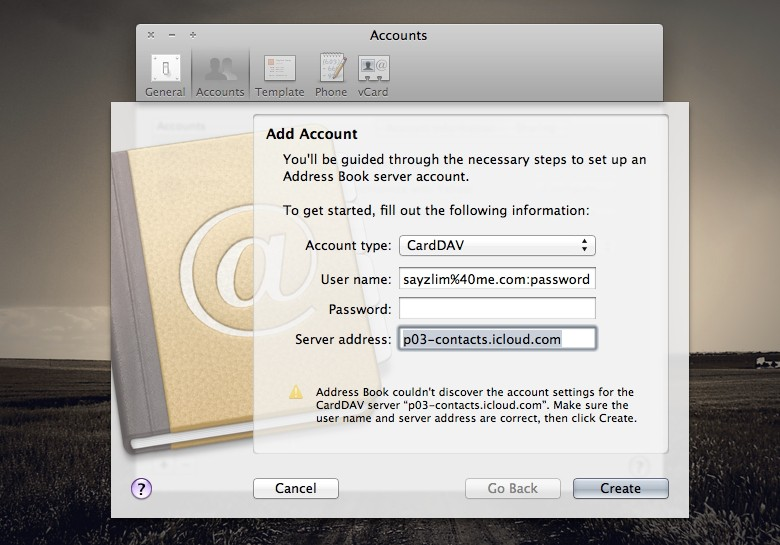 Address Book Accounts for iCloud