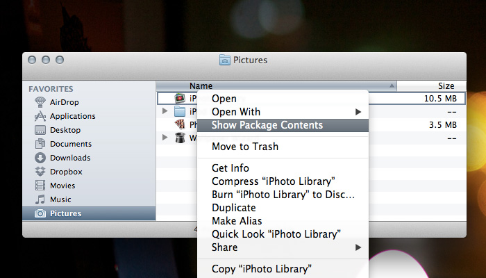 Locate iPhoto Library