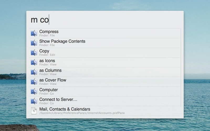 Menu Bar Search Alfred Workflow