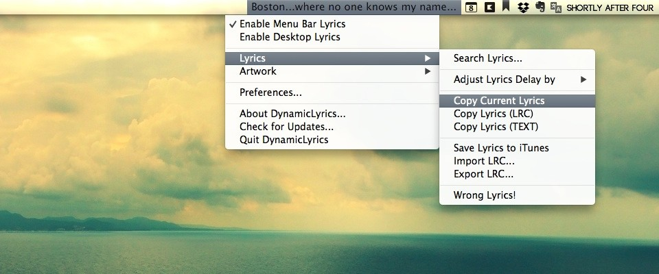 DynamicLyrics Menu Bar Items