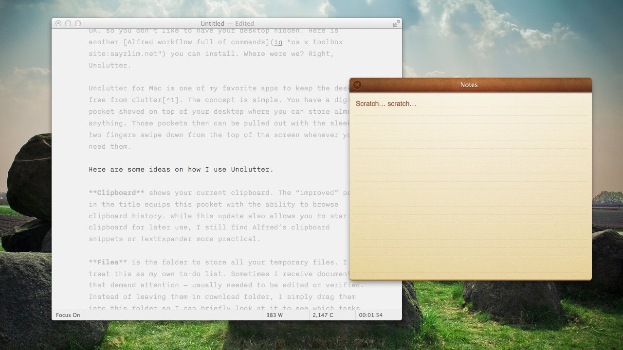Unclutter for Mac Notes