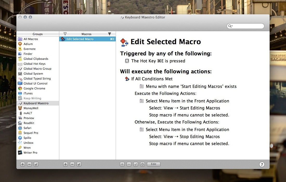 Keyboard Maestro: Edit Select Macro