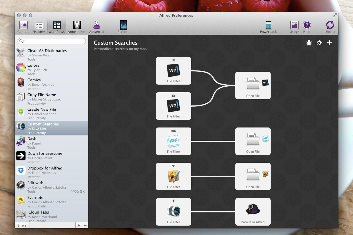 Alfred Custom Searches Workflow