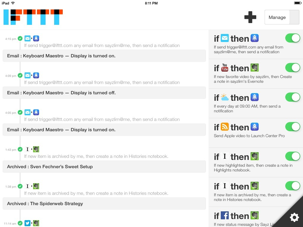 IFTTT for iPad Events Log