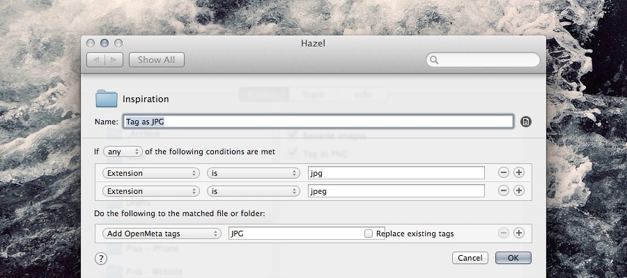 Hazel Tag by File Types