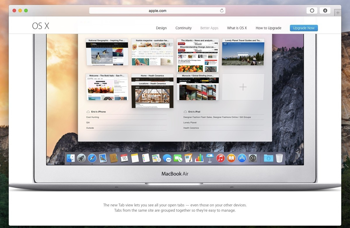 OS X Yosemite: Safari New Look