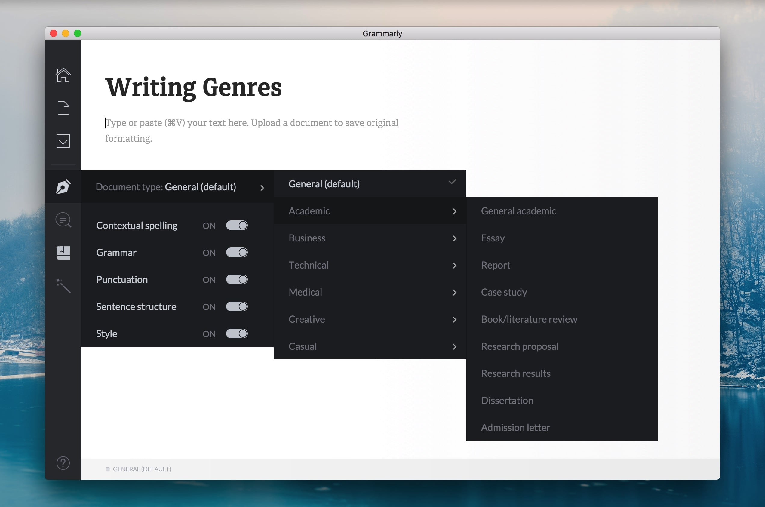 Grammarly Writing Genre Checks