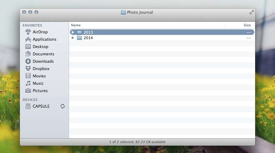 Create Years Folder in Finder
